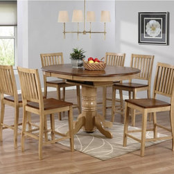Sunset Trading - Sunset Trading Brookside 7 Piece Oval Counter Height Table Set with Brookdale St - Shop for Bar and Pub Tables with Stools from Hayneedle.com! Today's dining rooms have become meeting spots for conversation and to touch base with family and friends which makes the Sunset Trading Brookside 7 Piece Oval Counter Height Table Set with Brookdale Stools a natural choice. This table and stool set stands at counter height making it easier to chat and help with homework. The table features a convenient built-in leaf that adjusts it from a comfortable round to a generous oval. The six stools mean everyone has a comfy place to sit.The Brookside seven-piece counter height table and chair set is constructed of eco-friendly Malaysian oak and has a two-tone finish. The pedestal style table and chair frames are finished in wheat with a contrasting warm pecan finish on the tabletop and seats. The chairs have a slat back design that enhances the classic charm. About Sunset TradingThis product is designed and manufactured by Sunset Trading. Located in Londonderry New Hampshire Sunset Trading creates high quality furniture for bedrooms living and dining rooms. Their furniture features side roller drawer guides four corner English dovetails solids and veneers. Dining rooms feature epoxy resin constructed chairs with metal support brackets which make their chairs 100 times stronger than glued chairs. Rest assured you're making an excellent choice when you purchase a fine furniture item from Sunset Trading.