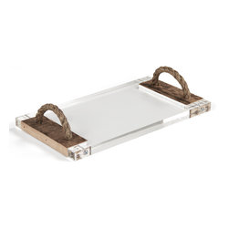 Kathy Kuo Home - Jackson Reclaimed Wood Modern Rustic Acrylic Serving Board Tray - Serve up some modern style with reclaimed wood and jute rope on the side. Sleek, sturdy acrylic provides the generously-sized base for this serving tray. Reclaimed wood frames the sides of the tray and anchors the rustic rope handles. Offer your guests appetizers, desserts or anything in between on this tempting tray.