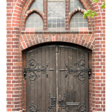 Rustic German Church Door - Rustic Church Door from Germany. Solid wood with iron work and custom hardware. Historical reproductions, specializing in European style.