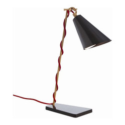 Arteriors Home - Arteriors Home Rio Iron Desk Lamp - Arteriors Home 49660 - Have you ever met a desk lamp that was hoisted by its own petard? Interesting and unusual, this French-wired lamp has a red cord that can be twisted around the body or left hanging next to it. The black shade is adjustable so you'll always have plenty of light on your subject.