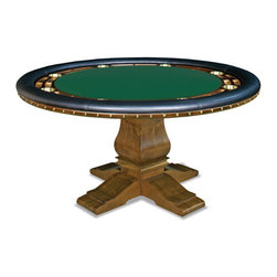 California House - berkeley 60-in pro poker table w/ top - These solid hardwood tables are custom-crafted in the US in maple with your choice of four wood finishes and four felt colors. A ring of eight (8) cupholders and carved chipwells line the felt gaming surface and is surrounded by a padded, synthetic leather elbow rest.
