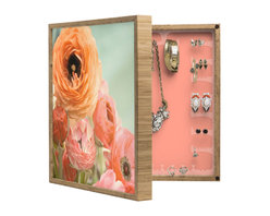 DENY Designs - Bree Madden Spring Ranunculus BlingBox Petite - Handcrafted from 100% sustainable, eco-friendly flat grain Amber Bamboo, DENY Designs BlingBox Petite measures approximately 15 x 15 x 3 and has an exterior matte cover showcasing the artwork of your choice, with a coordinating matte color on the interior. Additionally, the BlingBox Petite includes interior built-in clear, acrylic hooks that hold over 120 pieces of jewelry! Doubling as both art and an organized hanging jewelry box, It's bound to be the most functional (and most talked about) piece of wall art in your home! Custom made in the USA for every order.