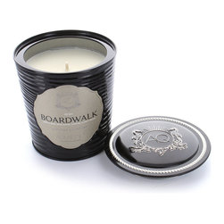 Aquiesse Decorative Tin Soy Candle in Boardwalk - The decorative tin candle by Aquiesse is a double lined, heat resistant tin that stealthily hides its own set of matches in the lid. Delight in the scent of Boardwalk as notes of waffle cone, surf, sand and driftwood envelope you in a warm hug. This lovely candle burns a lengthy 100 hours and is made with an exclusive soy wax formulation. Relax and unwind with the essence of summers at the beach and delicious ice cream cones filling your senses and taking you on a walk down memory lane.