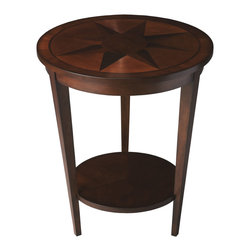Butler - Nutmeg Maple Parquet Table - This dazzling transitional accent table features an engaging inlay top and reverse-tapered legs with display shelf. Crafted from hardwood,it features a walnut and maple starburst inlay bordered by walnut and cherry veneers in a rich nutmeg finish.