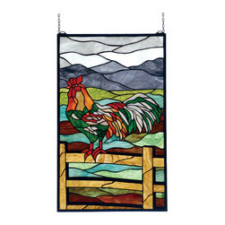 Meyda - 19 Inch W X 31 Inch H Sunrise Perch Window Windows - Collection: Arts & Crafts Animals