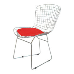 Bertoia Style Chair, Red Pad - With his iconic seating collection, Harry Bertoia transformed industrial wire rods into a new furniture form. With its unique bent and welded steel rod construction the chair is exceptionally strong and surprisingly comfortable. The removable leatherette seat cushion is padded with a foam insert for softness. The brightly chromed steel frame pairs nicely with all other modern classic furnishings. The wide, contoured chair is suited to contemporary living rooms, bedrooms and professional reception areas.