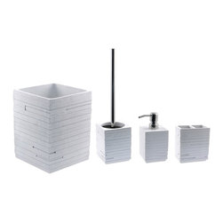 Gedy - Quadrotto White 4-Piece Bathroom Accessory Set - Stylish, decorative white bathroom accessory set which includes toilet brush holder, waste can, toothbrush holder, and soap dispenser. Bathroom accessory set. Made out of thermoplastic resins in a white finish. From the Gedy Quadrotto collection. Included in set:. Toothbrush Holder Gedy QU98-02. Soap Dispenser Gedy QU81-02. Toilet Brush Holder Gedy QU33-02. Waste Can Gedy QU09-02.