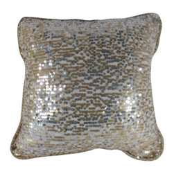 "www.pillowtalkdirect.com - Silver and Gold Sequined Pillow, 18"" x 18"" - Silver and gold sequins face this glamorous pillow. Elegant cream cord edges and a gray cotton brocade with shots of gold metallic backs this one. Feather filled. 18"" x 18"""