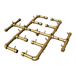"""Warming Trends - Crossfire Brass Burner, Cfb350, 350K BTU - 350K BTU Crossfire Brass Burner; 3/4"""" Pipe; Natural Gas or Liquid Propane; Suggested to fit inside an 48""""-60"""" opening."""