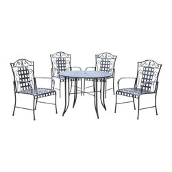 International Caravan - 5 Pc Patio Set in Black-Finished Iron - In antique black. Made of iron. Includes 4 chairs and a 40 in. round table. An umbrella hole. Uses EP rust protection. Great for patios, sunrooms, and poolside. Table: 42 in. Dia. x 30 in. H. Chairs: 27 in. W x 39 1/2 in. H x 22 in. D. Option to add custom made cushions for added comfort and style (Cushions may take 3 - 4 weeks for delivery)