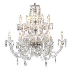 "The Gallery - Chandelier Lighting Crystal Chandeliers H27"" X W32"" - A Great European Tradition. Nothing is quite as elegant as the fine crystal chandeliers that gave sparkle to brilliant evenings at palaces and manor houses across Europe. This beautiful crystal chandelier is decorated with 100% crystal that capture and reflect the light of the candle bulbs, each resting in a scalloped bobache.The timeless elegance of this chandelier is sure to lend a special atmosphere in every home! Please note this item requires assembly. This item comes with 18 inches of chain. SIZE: H.27"" X W.32"" 12 LIGHTS. Lightbulbs not included"