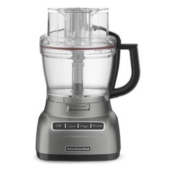 """KitchenAid - 13-Cup Food Processor with Mini Bowl - The KitchenAid 13 Cup Food Processor with Mini Bowl features an external adjustable slicing disc. Gone are the days of stopping and removing the bowl to adjust the slicing disc thickness. Simply slide the easy access lever, from left to right, to adjust the slicing from thin to thick. Specially engineered speeds and cutting system process foods with ultimate precision. The Ultra Wide Mouth Feed Tube adjusts to 3 different widths, accepting many whole foods and various shapes for processing. Whole tomatoes, potatoes and cucumbers easily pass into the processor with minimal prep. The newly designed side handle offers comfort and allows for easy viewing in bowl when in use. Features: -Food processor with mini bowl. -New external adjustable, stainless steel slicing disc. -3 Speeds and blades for great performance and results. -Ultra Wide Mouth Feed Tube accommodates large to small foods. -BPA-free work bowl and mini bowl makes this a 2-in-1 food processor. -Comfort design side handle for easy viewing while in use. -Heavy duty base. -BPA-bowls for processing foods. -Bowls are dishwasher safe. -Precision performance and results.-60 Hertz.-120 volts. Specifications: -Package contents: Food processor, slicing disc, multi-purpose blade, dough blade, shredding disc, mini bowl, work bowl, storage case, manual, warranty. -Dimensions: 16.1"""" H x 8.3"""" W x 10.5"""" D."""