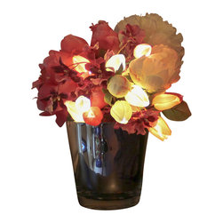 The Firefly Garden - Spring Bouquet - Illuminated Floral Design, Flared Mirror Vase - Housed in a Kiri wood vase, flared mirror, or grey square vase, Spring Bouquet combines the spaciousness of white Peonies with the beauty of illuminated Tulips and Calla Lilies. This 12 inch arrangement makes a perfect gift for Mother's Day, a special birthday or anniversary. Uses 3 replaceable AA batteries.