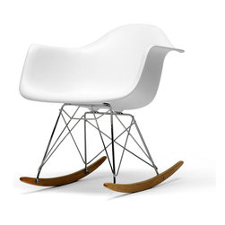 Baxton Studio - Baxton Studio White Plastic Rocking Chair - Clean, simple form sculpted to fit the body. Wire legs are made from chromed steel features solid ash wood base.