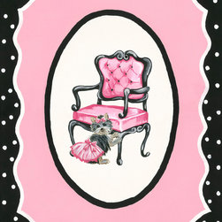 Sherri Blum, Jack and Jill Interiors, Inc. - French Pink Black Nursery Decor, Wall Art for Girls, Chair and Poodle - Take you and your little one to a French boutique with Sherri Blum's whimsical wall art for children in pink surrounded by black and white polka dots. Indulge in chic kids' wall decor for your little bambin, creating the perfect Parisian presence.