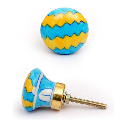 "Knobco - Zig-Zags Knob, Yellow And Turquoise - Yellow and turquoise unique cabinet hardware from Jaipur, India. Unique, hand painted cabinet knobs for your kitchen cabinets. 1.5"" in diameter. Includes screws for installation."