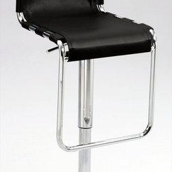 """Chintaly Imports - Strap Back Pneumatic Gas Lift Adjustable Height Swivel Stool in Chrome - Modern sling and strap style seat and back stool. Pneumatic gas lift gives you a smooth height adjustment from 22-31"""". The frame, base and footrest are in Chrome. The seat and back are in Camel recycled leather. Lots of comfort, built to last.; Pneumatic gas lift; Swivel; Black recycled leather; Chrome finish; Dimensions:16.54""""W x 19.69""""D x 41.14""""H"""