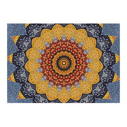 Bungalow Flooring - Faux Flooring Sundial Mosaic Mat - Get vibrant, textured flooring without the hassle of installation and with complete freedom to redecorate when you lay down this durable and slip-resistant mat that's even machine-washable for maximum convenience.   0.13'' thick Polyester / sponge rubber Machine wash; hang dry Made in the USA
