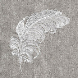 Anali - Plumes Linen Guest Towel, Oat - Beautifully embroidered Plumes feather embroidered on 100% linen guest towel. Our linen guest towels with their stunning embroidered thread paintings make the perfect hostess gift for the holiday season or all year around. (14x20) Made in Redmond, WA, USA. Machine wash, lay flat to dry for crisp look or tumble dry for soft washed look. Hot steamy iron, no bleach products.