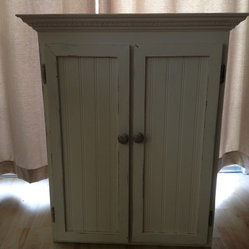 Primitive Woodworks - This is a solid Pine Medicine Cabinet with a distressed, antique white ...