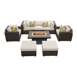 TKC - Rustico 8 Piece Outdoor Wicker Patio Furniture Set 08d 2 for 1 Cover Set - Features: