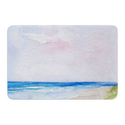 """KESS InHouse - Rosie Brown """"Wet Sand"""" Beach View Memory Foam Bath Mat (17"""" x 24"""") - These super absorbent bath mats will add comfort and style to your bathroom. These memory foam mats will feel like you are in a spa every time you step out of the shower. Available in two sizes, 17"""" x 24"""" and 24"""" x 36"""", with a .5"""" thickness and non skid backing, these will fit every style of bathroom. Add comfort like never before in front of your vanity, sink, bathtub, shower or even laundry room. Machine wash cold, gentle cycle, tumble dry low or lay flat to dry. Printed on single side."""