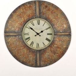 """Vassar Bronze Wall Clock - Sophisticated and stately, the Vassar Bronze wall clock is  a full 24"""" in diameter and is crafted of metal with a handsome bronze and verdigris finish.  An antique face paper with Roman numerals completes the impressive look of this large clock."""