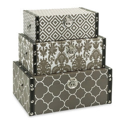 "IMAX - Essentials Storage Boxes - Taupe - Bold and graphic patterns wrap the exterior ofeethis handy and stylish set ofeethr  storage boxes. With chrome and faux leather detailing in the trim and hardware, these are an easy choice in holding your collectibles or desktop odds and ends. Item Dimensions: (5-6.25-7.25""h x 13.75-15.75-17.75""w x 8.25-10.25-12.25"")"