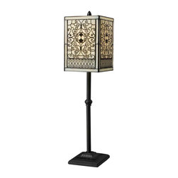 Dimond Lighting - Dimond Lighting D1851 Adamson Bronze Table Lamp - Adamson Table Lamp in Tiffany Bronze with Tiffany Glass Shade