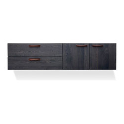 Blu Dot - Blu Dot | Shale 2 Door/2 Drawer Wall-Mounted Cabinet - The Shale 2 Drawer/2 Door Wall-Mounted Cabinet exudes clean modern design on many levels, down to the details. A solid wood ash top, legs and door/drawer fronts are complemented by full grain leather pulls, adding storage panache and practicality to the bedroom, living room, or dining room. The cabinet mounts to the wall, allowing you to choose the height that is perfect for your space. The door sections of the cabinet feature adjustable shelves and wire management holes. Shale 2 Drawer/2 Door Wall-Mounted Cabinet is available in your choice of finish.