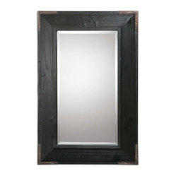 Uttermost - Carino Wood Mirror - Get a mirror and a work of art for one price. You will love the copper brown metal accents on the black satin finished fir frame. You can hang it vertically or horizontally. Just hang it.