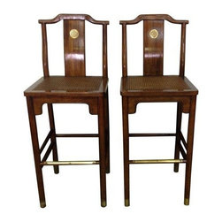 Pre-owned Asian Style Bar Stools - These aren't your average barstools!  These barstools feature caned seats, brass details and have Asian inspired lines.  They are made of solid wood and are likely from the late 1960's or early 70's.       Seat height: 30 inches