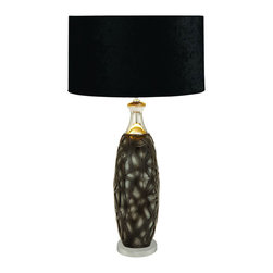 Benzara - Table Lamp With Plays on Light and Shadow - This table lamp features an elegantly simple design that fits seamlessly anywhere. The bold and black contemporary lampshade creates a bold statement as a living room or in the bedroom as a low light reading lamp The base design is an abstract pattern of light and shadow evocative of mystery and intrigue.