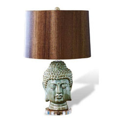 Interlude Home - Interlude Home Acadia Buddha Lamp - This Interlude Home Lamp is crafted from Ceramic and Acrylic and finished in Antique Sea Blue; Chocolate Shade.  Overall size is:  15 in. W x  15 in. D x 26 in. H.