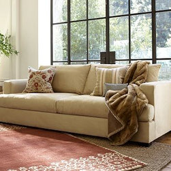 """Hampton Upholstered Grand Sofa, Everydayvelvet Mocha - Our furniture makers attend to every detail of comfort and quality when building this collection. Crafted by our own master upholsters in North Carolina, the sofa features a two-over-two cushion configuration that maximizes seating. 96"""" w x 40"""" d x 35"""" h {{link path='pages/popups/PB-FG-Hampton-3.html' class='popup' width='720' height='800'}}View the dimension diagram for more information{{/link}}. {{link path='pages/popups/PB-FG-Hampton-5.html' class='popup' width='720' height='800'}}The fit & measuring guide should be read prior to placing your order{{/link}}. Seat cushions are wrapped in a down-blend for a casual and relaxed look. Proudly made in America, {{link path='/stylehouse/videos/videos/pbq_v36_rel.html?cm_sp=Video_PIP-_-PBQUALITY-_-SUTTER_STREET' class='popup' width='950' height='300'}}view video{{/link}}. For shipping and return information, click on the shipping info tab. When making your selection, see the Special Order fabrics below. {{link path='pages/popups/PB-FG-Hampton-6.html' class='popup' width='720' height='800'}} Additional fabrics not shown below can be seen here{{/link}}. Please call 1.888.779.5176 to place your order for these additional fabrics."""