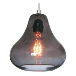 Smoke Grey Kiss Pendant Lamp by  Luxello LED - Kiss Pendant by Luxello is a modern crystal glass suspension lamp. The hand blown crystal pear shaped glass diffuser surrounds the light bulb fitting. The E26 socket takes various light bulbs from vintage to PAR or LED spot.