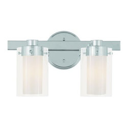 "Livex Lighting - Livex Lighting 1542 2 Light 120 Watt 14.5"" Wide Bathroom Fixture with Clear Glas - 2 Light 120 Watt 14.5"" Wide Bathroom Fixture with Clear Glass from the Manhattan CollectionFrom the Manhattan Collection, this two light combined with clear outside glass and opal inside glass will provide ample lighting to a bathroom setting.Features:"