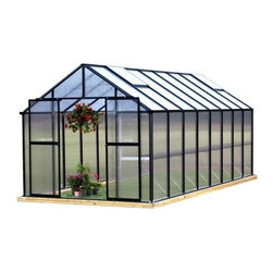 Riverstone Industries Monticello 8 x 16 ft. Premium Greenhouse Kit - Take the guesswork out of working in nature, with the Riverstone Industries Monticello 8 x 16 ft. Premium Greenhouse Kit. Too much sun, too little sun, too much rain, too little rain, and of course late spring or early autumn frosts - with so many potential natural setbacks, gardening is truly an art. But with a little scientific know-how (and a lot of help from the folks at Riverstone Industries), you can grow like a pro. This greenhouse allows you to start a substantial crop early and even produce year round. Good growers are always looking for safe, sustainable ways to extend their growing season, and this greenhouse, with its commercial-grade materials, gives you just that edge you've been looking for.The Monticello Greenhouse by Riverstone Industries uses the highest-quality extruded aluminum available - over 70 lbs. more than an average imported greenhouse of this size. Furthermore, it uses high-impact, UV-stable 8mm twin wall polycarbonate for the walls and roof, whereas most other greenhouses on the market use less expensive materials that they shave down as thin as .2mm. These extra measures of strength pay off by securing your greenhouse and all its precious contents from snow loads up to 24 pounds per square foot and from gusts of wind up to 113 miles per hour, making this far stronger than the average greenhouse. In addition to this obvious ability to hold up under strenuous natural conditions, these high-quality materials also make the greenhouse's growing potential more efficient, stretching the natural season longer and cutting down on electric bills for those looking to grow year round.As if top-quality materials weren't enough, Riverstone Industries has also equipped this premium package with a slew of features to help you make the most of your horticultural efforts. This greenhouse's workbench and sink - the only one found in the industry - will help you plan out your plantings and minimize your work time and effort. Its unique interior shade system will help you prevent sun scorching on more sensitive leaves and flowers, while the automatic roof vents will enable you to keep a good temperature and airflow. This greenhouse even comes equipped with gutters as part of its automatic watering system to help make the most of the elements that nature already provides. Even with all these features and commercial stability, Riverstone has made sure to keep assembly simple so that even an inexperienced builder can put this greenhouse together in less than a day, allowing you to jump right into your planting and production, which is the reason you bought it in the first place.Additional features:Features work bench systemIntegrated flush-base designHigh-impact, UV stable 8 mm twin polycarbonate walls and roofHeavy-duty extruded aluminum frameThree 2 x 2-ft. roof vents with automatic openersIntegrated dual rain water gutter systemPeak height: 90 inchesSidewall height: 58 inchesDoor dimensions: 48W x 68H in.Easy roll sliding entry doors with locking abilityExpandable in 4-ft. increments as needed (extensions sold separately)Efficient - average annual cost for year round operation is $150-$200Snow load capacity: 24lbs./sq. ft.Wind load capacity: 52m/sec. (113 mph gusts)Assembly time of approximately 11 hoursProudly made in the United StatesAbout Riverstone IndustriesRiverstone Industries prides itself on producing high-quality environmentally and economically conscientious products for the masses. They believe that their green product lines will enable everyone to help forge a brighter future for themselves and their world. By creating merchandise that is easy to assemble, backed by confident warranties, and supported by top-notch customer service, they have built and maintained outstanding quality that has resulted in customer satisfaction. Over the years, Riverstone Industries has also made a conscious effort to move its design and manufacturing programs to the United States, helping secure domestic jobs and a stronger economic environment.