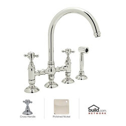 "Rohl - Rohl A1461XMWSPN-2 Polished Nickel Country Kitchen Country Kitchen - Country Kitchen Bridge Faucet with Side Spray and Metal Cross HandlesBorn in the Piedmonte region of France, an area known for its rich tradition of cuisine and culture, the Country Kitchen collection is defined by exquisite design. Straight lines are paired with gentle curves and ribbing details to create a classic look that is as popular today as it was years ago. And with function set as the cornerstone of all Rohl products, rest assured that the beauty of the Country Kitchen collection does not overshadow its use. Smooth handle operation, lifetime ceramic disc valves, and a sturdy feel that only all-brass construction could allow are all defining features of the Country Kitchen collection. As one of Rohl's largest collections, you will find that there are a variety of bold styles and finishes to choose from.Rohl A1461XMWS-2 Features:All brass faucet body construction - weight: 13 lbs.Hand-machined from solid brass stockIndustry leading, 1/4 turn lifetime ceramic disc valveSuperior finishing process – chemical, scratch, and stain resistantNumber of installation holes required: 4Spout swivels to allow for unobstructed sink accessInsulated brass side spray (not plastic)Bridge-style, above the counter mixing valveCenter-to-center distance between handle installation holes (faucet centers): 8""2.2 gallons-per-minute flow rateInstalls onto decks up to 2-1/8"" thickMetal cross handles includedOverall height: 13-15/16"" (measured from counter top to highest point of faucet)Spout height: 9-3/8"" (measured from counter top to faucet outlet)Spout reach: 8-15/32"" (measured from center of faucet base to center of faucet outlet)Low lead compliant – complies with federal and state regulations for lead contentDesigned for use with standard U.S. plumbing connectionsExtra secure mounting assembly"