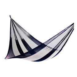 Yellow Leaf Hammocks - Newport Hammock, Family-Size (Cap. 550lbs) - At home on a sailboat as well as the front porch, this nautical blue and white Hammock is 100% handcrafted by artisan weavers for maximum comfort.