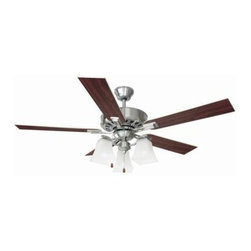 Design House - Indoor Ceiling Fans: Design House Torino 52 in. Satin Nickel Ceiling Fan 154138 - Shop for Lighting & Fans at The Home Depot. The classic lines of the 52 in. Torino Ceiling Fan are in a satin nickel finish with snow glass shades. It is great for traditional or modern home decor. Tri-mount adaptable this fan can be mounted with a down rod, in a close-up configuration or on a vaulted ceiling. A 3/4 in. diameter by 4 in. down rod is included. It has a 3-speed pull chain control and a reversible motor for year round comfort. The satin nickel finish with snow glass shades has five reversible blades, one side is a beech wood finish and the other side is a silver gray. Beautiful, classic design and functional.