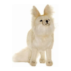 Hansa Toys - Hansa Arctic Fox - This Arctic Fox is made from white plush with a white bushy tail. Hansa Arctic fox has dark eyes and nose. Hansa Arctic Fox stands on all four legs. Airbrushed for detail.  Handmade.  Ages 3 and up.