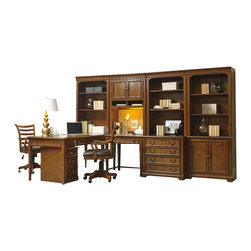 Hooker Furniture - Shelton Bookcase Hutch - White glove, in-home delivery!  For this item, additional shipping fee will apply.  Furniture assembly included!  The ever pratical Shelton collection is crafted from poplar solids and alder veneers.  Bookcase Hutch only.  Shown with: Lateral File, Mobile File, Open Hutch, Bookcase, Peninsula Desk, Desk, and Tilt Swivel Chair - sold seperately. Shown on top of the Shelton Desk in the center of the wall unit.  Two doors with one adjustable shelf behind, two open areas for storage, cork back panel, one task light.