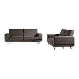 VIG Furniture - Wendon Grey Microfiber Three Piece Sofa Set - The Wendon sofa set will add a unique and stylish modern design to your living room decor. This sofa set comes upholstered in a beautiful grey microfiber fabric. High density foam is placed within each piece for added comfort. The sofa set features a simple design with modern angles that make it stand out among other sofas. The sofa set includes a sofa, loveseat, and chair only.