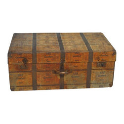 Pre-owned Antique Metal Beer Advertising Steamer Trunk - Metal steamer trunk made of wood and covered entirely with Gunther Beer advertising metal. Made to be carried like a suitcase with reinforced corners and wood strip bottom. Beautiful patina would make a great coffee table. Circa 1920's.