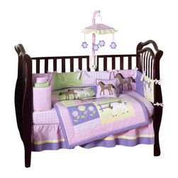 Sweet Jojo Designs - Pretty Pony 9-Piece Crib Bedding Set - The Pretty Pony 9 pc Crib Bedding Set by Sweet Jojo Designs has all that your little bundle of joy will need. Let the little one in your home settle down to sleep in this incredible nursery set. Make your little cowgirl want to giddy-up with this gorgeous set featuring detailed embroidery works and appliqués of ponies and flowers. This collection uses the stylish colors of Pink, Purple, Yellow and Sage Green.