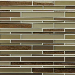 "Rocky Point Tile - Bahia Cocoa Random Strip Glass Mosaic Tiles, 10 Square Feet - A beautiful mix of matte and high gloss glass strips on a 12"" x 12"" mesh backing. Colors include cocoa browns, golden browns, and taupe. The cocoa brown strips have a beautiful textured backing that gives these tiles a unique feeling to spice up your new kitchen backsplash or bathroom."