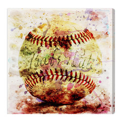 """The Oliver Gal Artist Co. - 'Babe Ruth's Favorite'  Fine Art Canvas 30"""" x 30"""" - Perfect for the baseball lover in your life, this canvas print pays homage to one of baseball's greatest legends. Hang this in a home office or game room for a playful pop of color. The hand-stretched canvas comes with a certificate of authenticity and hardware."""