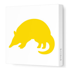"Avalisa - Silhouette - Armadillo Stretched Wall Art, 12"" x 12"", Yellow - Take a walk on the wild side with this adorable Armadillo silhouette. ""Armadillo"" means ""little armored one"" in Spanish, and this stretched canvas wall art gets rave reviews for a little one's bedroom or playroom."