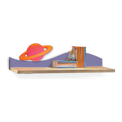 Star Rocket Wall Shelf - A colorful planet floats on wave of this Star Rocket birch veneer wall shelf, ideal for hanging over the desk or changing table/dresser.
